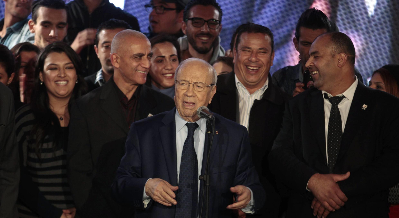 Le candidat Béji Caïd Essebsi lors d'un meeting le 13 décembre 2014 à Tunis.