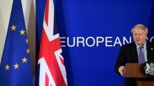 Thủ tướng Anh Boris Johnson phát biểu trong một buổi họp báo tại thượng đỉnh Liên Hiệp Châu Âu về Brexit, Bruxelles, Bỉ, ngày 17/10/2019.