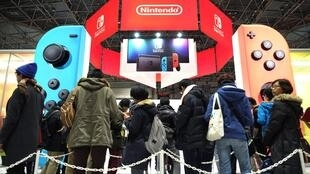 A video-game conference in Tokyo displays a new player by Nintendo, 2017