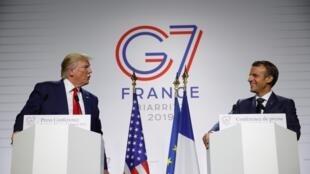 Hai tổng thống Trump và Macron tại cuộc họp báo chung kết thúc thượng đỉnh G7 ngày 26/08/2019.