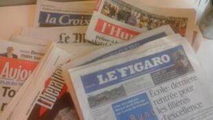 Capas dos jornais diários franceses de 01/09/15