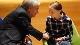 លោកអគ្គលេខាធិការអង្គការសហប្រជាជាតិ Antonio Guterres និងនាង Greta Thunberg ជាតិស៊ុយអែត នៅអង្គការសហប្រជាជាតិ 