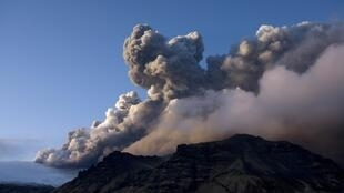 Smoke billows from Eyjafjallajokull volcano, two days after it erupted