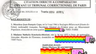 La citation à comparaître a été caviardée par Baptiste Fluzin façon nyancat.