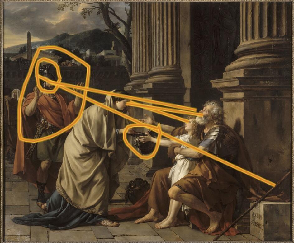 «Dans l'interface utilisateur de l'application Ikonikat, le visiteur marque du doigt les zones significatives selon lui du tableau.» Ici, «Bélisaire demandant l'aumone», de Jacques-Louis David.