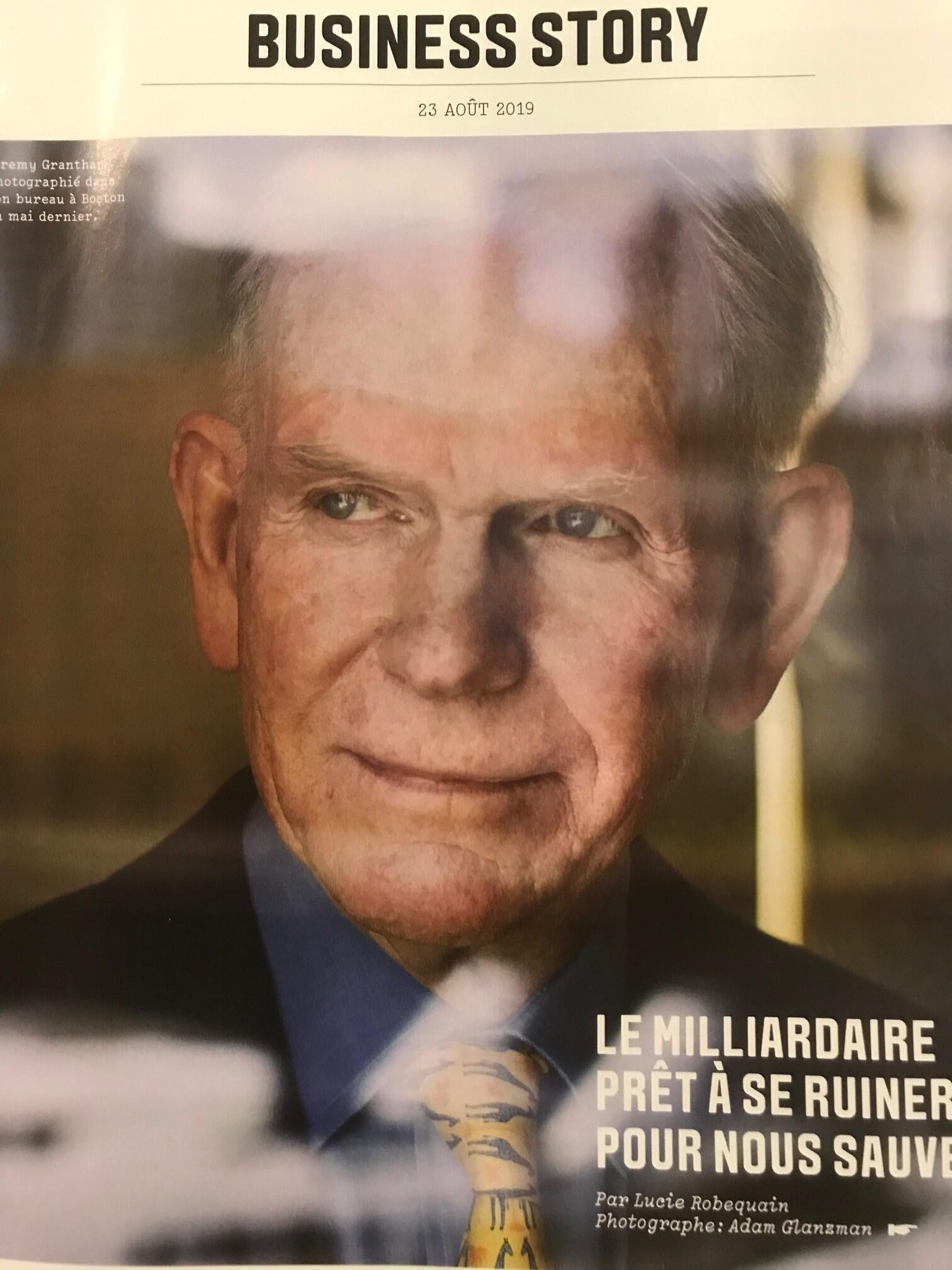 Reportagem sobre o bilionário britânico Jeremy Grantham na revista semanal do jornal Les Echos.