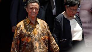 L'ancien président malgache Marc Ravalomanana et son épouse Lalao Ravalomanana lors de l'investiture d'Adry Rajoelina comme nouveau président de la République, à Antananarivo le 19 janvier 2019.