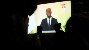 Alassane Ouattara prononçant son discours à la télévision, le 6 août 2018, à Abidjan.