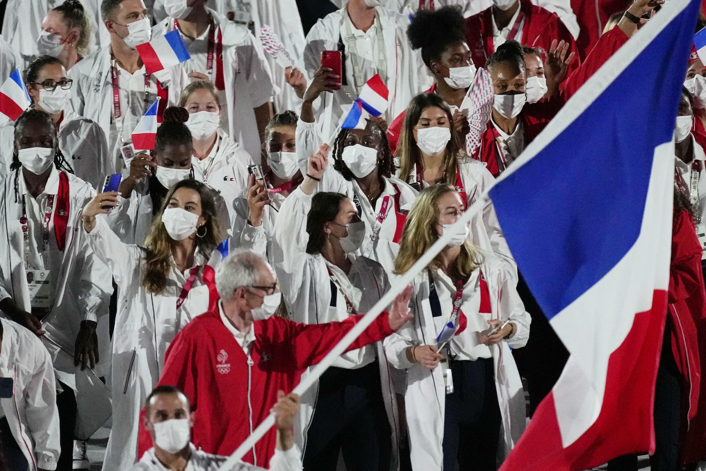 法國代表隊在東京奧運會開幕式上。攝於7月23日。