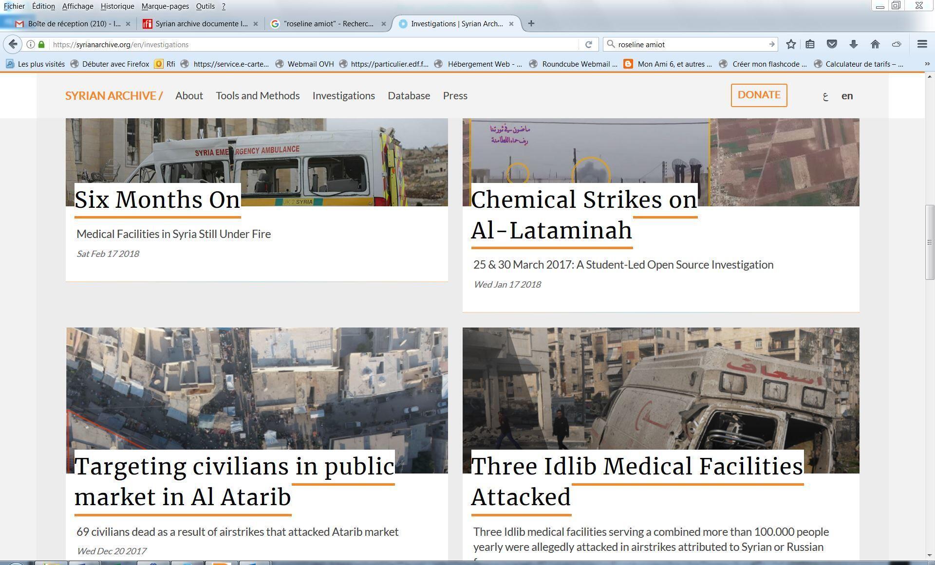 Capture d'écran du site syrianarchive.org.