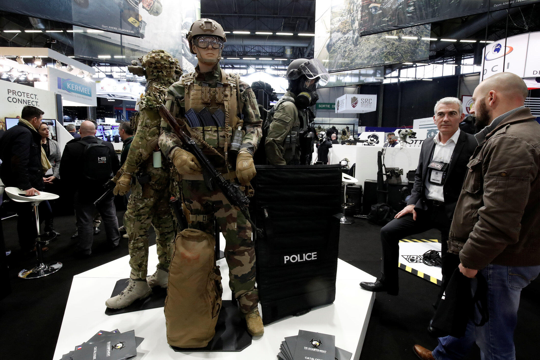 Tactical products by TR Equipement, not the stall concerned by the torture intsruments allegations, at the 20th Paris Milipol