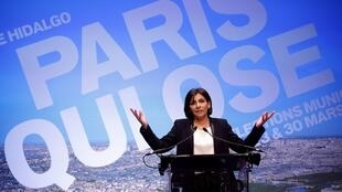 Anne Hidalgo, Socialist Party candidate, during a rally in Paris, 13 March, 2014