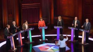 Les chefs de partis lors du grand débat électoral avant les législatives britanniques, le 31 mai 2017.
