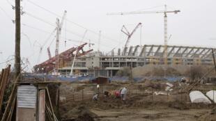 La construction du site olympique à Sotchi, en Russie.