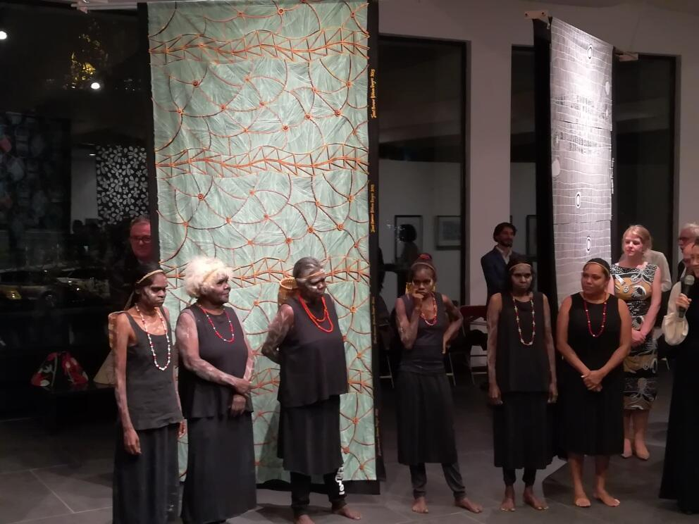 Women from Babbarra Women's Centre perform at opening of Jarracharra exhibition, Australian Embassy, Paris, 3 October 2019