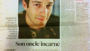 """""""Seu tio encarnado"""", diz o título da matéria sobre o piloto Bruno Senna no Libération."""