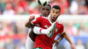 Younès Belhanda lors de la rencontre face au Maroc, le 20 juin 2018.