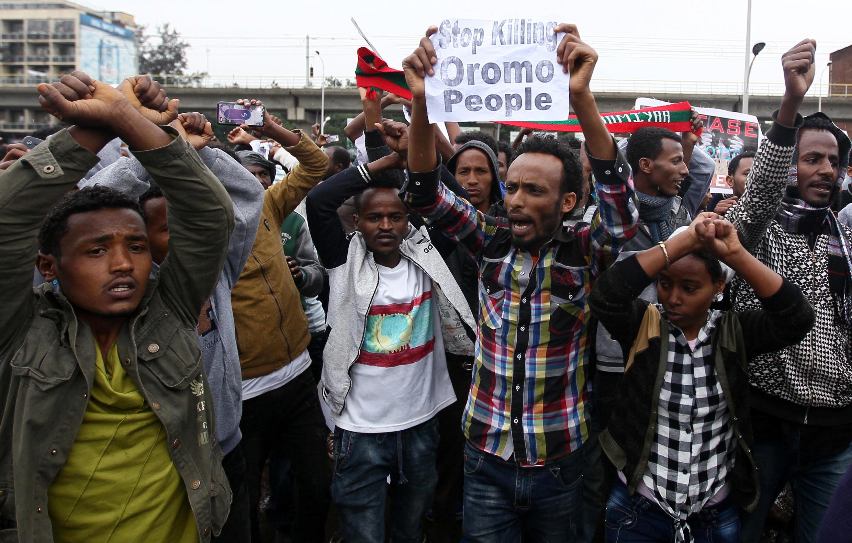 Des manifestants réclamant la fin de la répression contre la population oromo, à Addis-Abeba, le 6 août 2016 (image d'illustration).