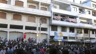 Une manifestation de solidarité avec Deraa a eu lieu à Banias, le 4 mai 2011.