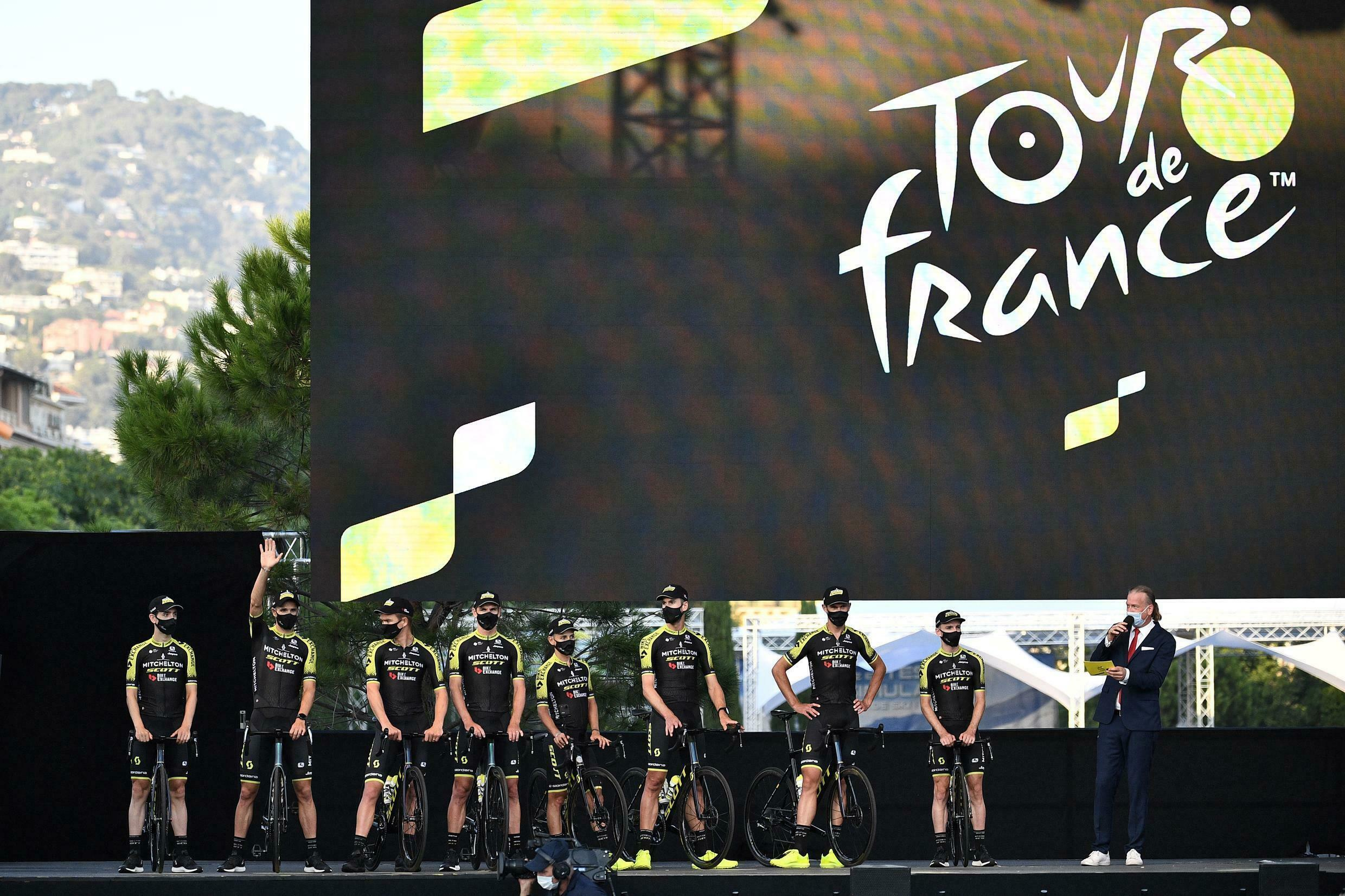 Team Mitchelton at the presentation of the teams, two days before the start of the tour in Nice, 27 August 2020.