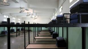 Cela da prisão Pik Uk Prison, em Hong Kong, com câmeras. China 14/02/19.