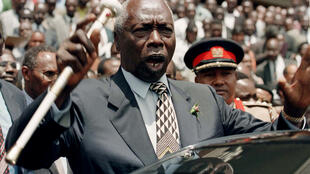 Kenya's President Daniel Arap Moi addresses supporters of the ruling Kenya African National Union (KANU) at the its headquarters in Nairobi, August 19, 1997.