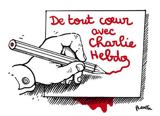 Dibujo de Plantu en homenaje a los caricaturistas de Charlie Hebdo, asesinados el 7 de enero de 2015.