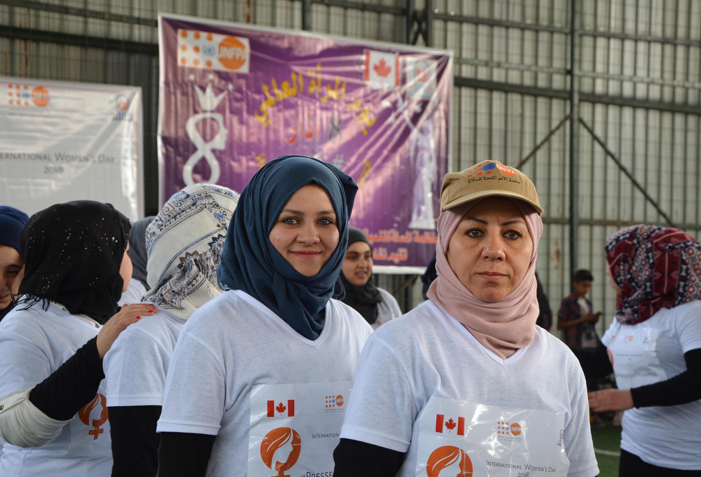 Iraquianas durante maratona simbólica em Mossul, no Iraque, em 8 de março de 2018.