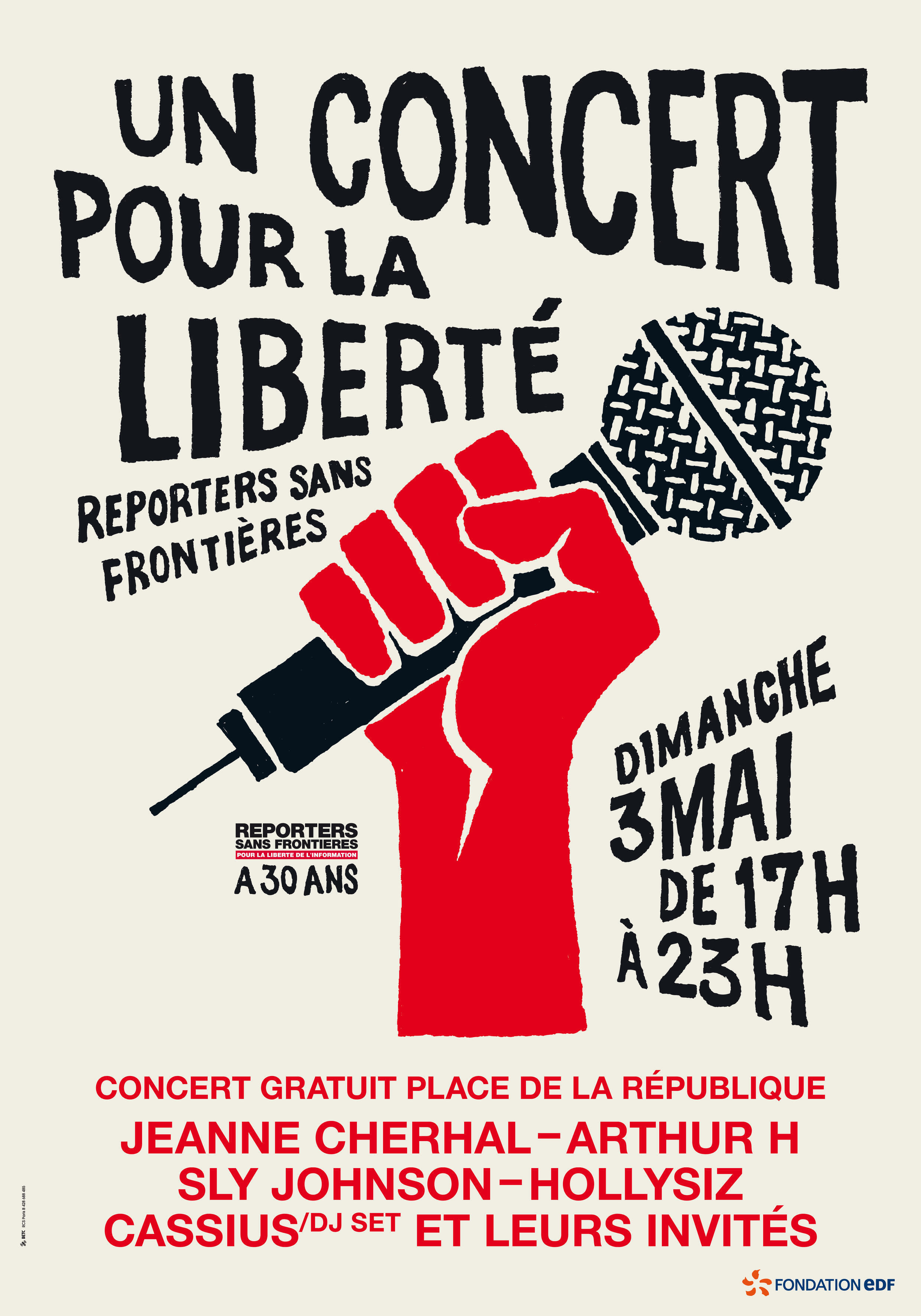 Cartaz alusivo aos 30 anos da  ONG Jornalistas Sem Fronteiras