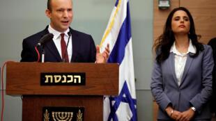 Le ministre de l'Education nationale Naftali Bennett a annoncé qu'il restait au gouvernement lors d'une conférene de presse à Jérusalem le 19 novembre 2018.