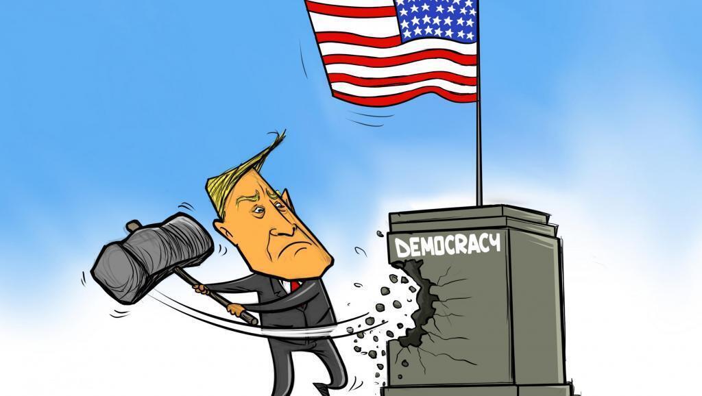 Biếm họa : Tổng thống mãn nhiệm Donald Trump tấn công vào nền móng của chế độ dân chủ Mỹ.