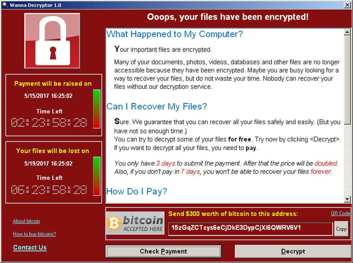 Ảnh chụp màn hình cho thấy mã độc WannaCry đòi tiền chuộc của người dùng internet, Mountain View, California, 15/5/2017.