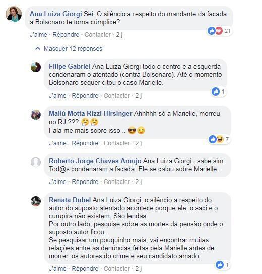 Internautas discutem matéria em que esposa de Marielle critica Jair Bolsonaro.