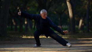 Un vieil homme pratique le Tai-chi dans un parc de Pékin.