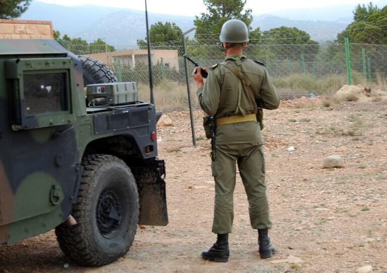 Un soldat tunisien regarde face au mont Chaambi dans la région de Kasserine, le 1er mai 2013.