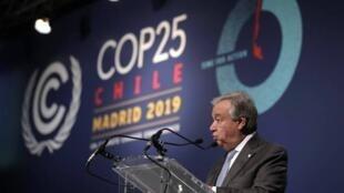 """联合国秘书长古特雷斯(Antonio Guterres)说,他对马德里举行的联合国气候会议成果感到""""失望""""      2019年12月15日"""