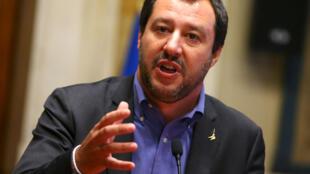 Le leader du parti de la Ligue, Matteo Salvini,  actuel ministre italien de l'Intérieur. Rome, en Italie, le 24 mai 2018.