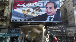 Affiche de campagne à l'effigie du président Sissi pour préparer sa réélection. Le Caire, le 18 janvier 2018.