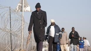 Les mineurs de la mine de platine de Marikana (Afrique du Sud) se déclarent présents avant la reprise du travail, le 25 juin 2014.