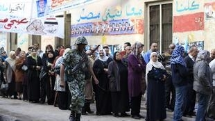 Voters queueing to vote in Cairo