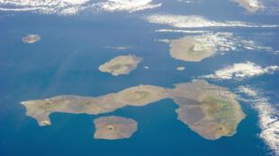 Imagem aérea das ilhas Galápagos