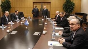 Kofi Annan with representatives of opposition Syrian National Council during their meeting in Ankara, 13 March, 2012