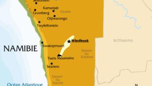 Carte de la Namibie.