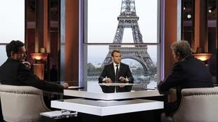 Edwy Plenel of Mediapart (L), President Emmanuel Macron (C) and Jean-Jacques Bourdin of RMC/BFMTV (R)
