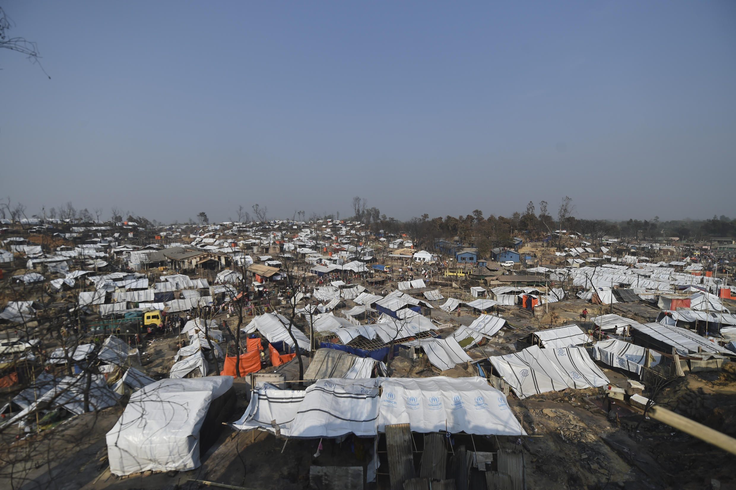 Temporary shelters are seen days in Ukhia, in the southeastern Cox's Bazar district that his home to Rohingya refugees