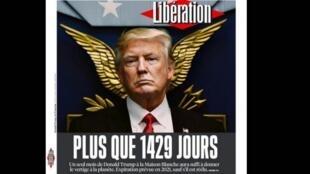 Capa do jornal francês Libération dessa terça-feira (21) que faz um balanço do primeiro mês agitado da presidência de Donald Trump nos Estados Unidos.