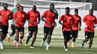 Les Sénégalais à l'entraînement au Stade Spoutnik de Kalouga, le 20 juin 2018.