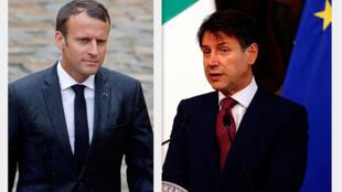 Fotomontagem do presidente francês, Emmanuel Macron, e o presidente do Conselho italiano, Giuseppe Conte.