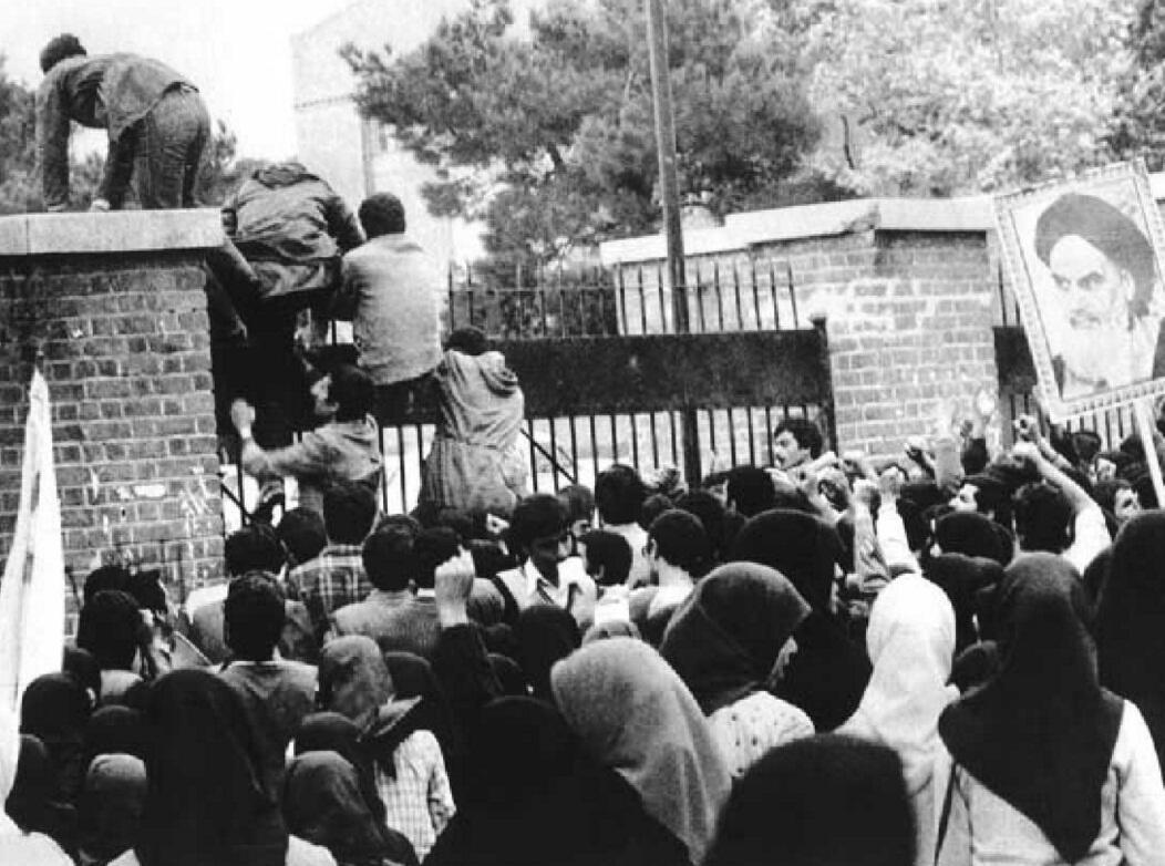 Angry students storm the US Embassy in Tehran, 1979. During 444 days Iranian militants would keep 55 embassy personnel hostage.