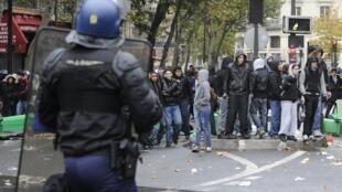 Manifestation d'étudiants à Paris.